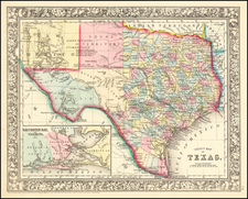 Texas Map By Samuel Augustus Mitchell Jr.