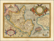 Pacific Northwest, Alaska, China, Japan, Russia in Asia and California Map By Abraham Ortelius