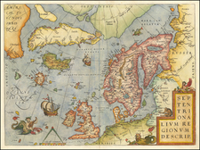 Atlantic Ocean, British Isles and Scandinavia Map By Abraham Ortelius