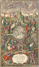 World, Curiosities and Title Pages Map By Matthaus Seutter