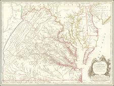 Mid-Atlantic, Delaware, Southeast and Virginia Map By Gilles Robert de Vaugondy