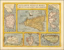 Insularum Aliquot Maris Mediterranei Descriptio [Sicily, Malta, Sardinia, Corfu, Elba and Zerbi] By Abraham Ortelius