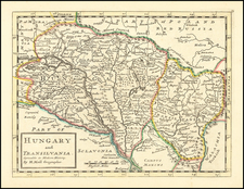 Hungary and Romania Map By Herman Moll