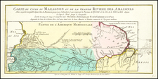 Colombia, Brazil, Guianas & Suriname and Peru & Ecuador Map By Jacques Nicolas Bellin