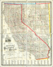 Nevada and California Map By Warren Holt  &  S.B. Linton