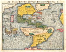 Western Hemisphere, North America, South America, Japan, Pacific and America Map By Sebastian Munster