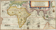 Eastern Hemisphere, Indian Ocean, China, Korea, India, Southeast Asia, Other Islands, Central Asia & Caucasus, Middle East, Africa, Africa, East Africa, African Islands, including Madagascar and Australia Map By Theodor De Bry / Cornelis de Houtman