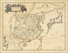 China and Korea Map By Johannes Blaeu