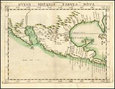 Southeast, Texas, Southwest, Mexico and Baja California Map By Girolamo Ruscelli