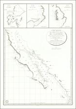 Mexico, Baja California and California Map By Depot de la Marine