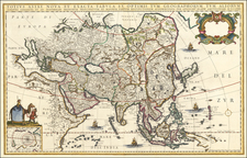 Asia Map By Willem Janszoon Blaeu / Giacomo Giovanni Rossi