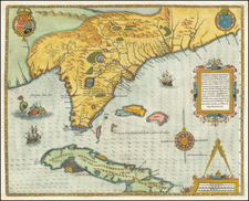 Florida, South, Southeast and Caribbean Map By Jacques Le Moyne