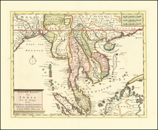 India, Southeast Asia, Malaysia and Thailand Map By Isaak Tirion