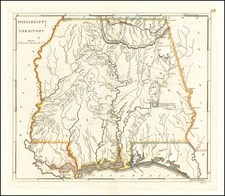 South, Alabama and Mississippi Map By Mathew Carey
