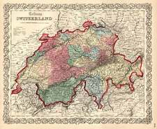 Europe and Switzerland Map By Joseph Hutchins Colton