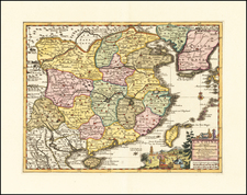 China and Korea Map By Pieter van der Aa