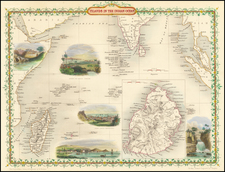 Indian Ocean, India and African Islands, including Madagascar Map By John Tallis
