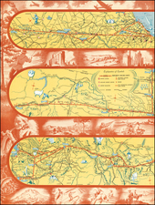 Illinois, Minnesota, Wisconsin, North Dakota, Montana, Pacific Northwest, Oregon, Washington and Pictorial Maps Map By Northwest Airlines
