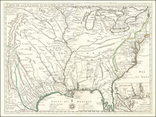South, Southeast, Texas, Midwest, Plains and Southwest Map By Guillaume De L'Isle