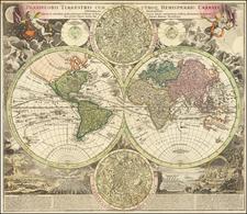 World and California as an Island Map By Johann Baptist Homann