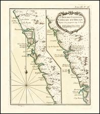 (Bombay Region) Carte Des Costes De Concan Et Decan Depuis Goa jusqu au Cap S. jean By Jacques Nicolas Bellin