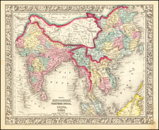 India, Southeast Asia, Malaysia and Thailand, Cambodia, Vietnam Map By Samuel Augustus Mitchell Jr.
