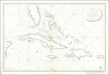 Florida, Cuba, Jamaica, Hispaniola, Puerto Rico and Bahamas Map By Depot de la Guerre