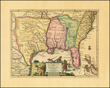 Florida, South, Southeast and Texas Map By Pieter van der Aa