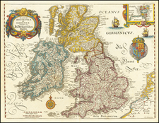 British Isles Map By Matthaus Merian
