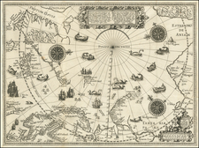 Northern Hemisphere, Polar Maps, Russia, Baltic Countries, Scandinavia, Iceland and Russia in Asia Map By Willem Barentsz