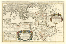 Turkey, Mediterranean, Middle East, Arabian Peninsula and Turkey & Asia Minor Map By Alexis-Hubert Jaillot