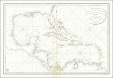 Florida, South, Mexico and Caribbean Map By Depot de la Marine