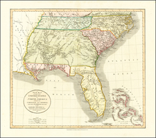 A New Map of Part of the United States of North America Containing The Carolinas And Georgia. Also The Floridas And Part Of The Bahama Islands &c. . . . 1811 By John Cary