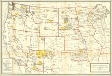 Texas, Midwest, Plains, Southwest, Rocky Mountains and California Map By U.S. Geological Survey