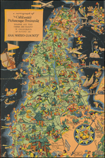 a cartograph of California's Picturesque Peninsula where all the Charm and Beauty of California is Found in:  San Mateo County By Ruth Taylor White