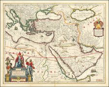 Turkey, Middle East, Arabian Peninsula and Turkey & Asia Minor Map By Willem Janszoon Blaeu