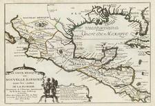 South, Southwest, Mexico and Central America Map By Nicolas de Fer
