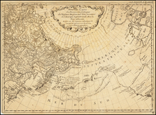 Pacific Ocean, Pacific Northwest, Alaska, Canada and Russia in Asia Map By Gerhard Friedrich Muller