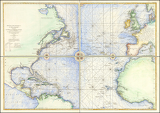 Atlantic Ocean and North America Map By George Louis Le Rouge