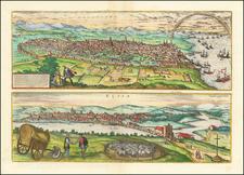 Catalonia Map By Georg Braun  &  Frans Hogenberg