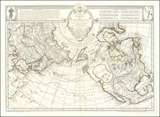 Polar Maps, Alaska, North America, Canada, Pacific and Russia in Asia Map By Philippe Buache / Joseph Nicholas De  L'Isle
