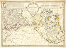 Polar Maps, Alaska, North America, Pacific, Russia in Asia and Canada Map By Philippe Buache / Joseph Nicholas De  L'Isle