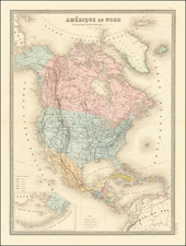 North America and America Map By J. Andriveau-Goujon
