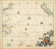 Australia & Oceania, Pacific, Australia, Oceania, New Zealand and California as an Island Map By Frederick De Wit