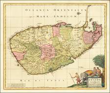 Sri Lanka Map By Peter Schenk / Nicolaes Visscher I