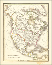 Texas and North America Map By Thomas Gamaliel Bradford