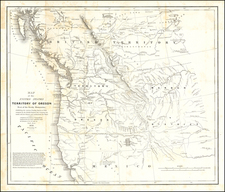 Map of the United States Territory of Oregon West of the Rocky Mountains . . . 1838  (with Cushing Report to House of Representatives on Oregon Territory) By Washington Hood