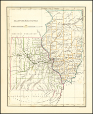 Midwest, Illinois, Plains and Missouri Map By Thomas Gamaliel Bradford