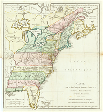 United States Map By Michel Rene Hilliard d'Auberteuil