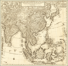 China, India, Southeast Asia, Philippines and Indonesia Map By Johannes Covens  &  Cornelis Mortier
